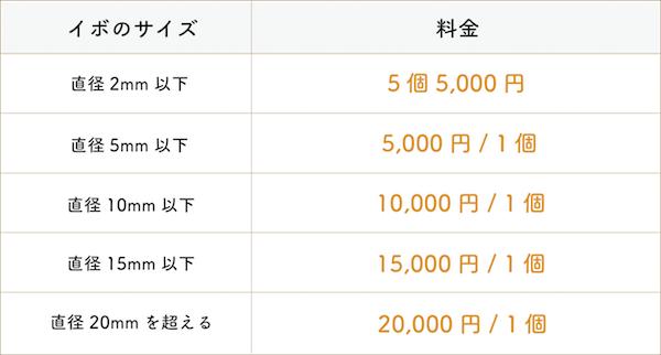 レーザー治療料金表